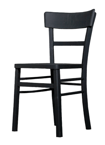 black modern dining chair without arms on white background