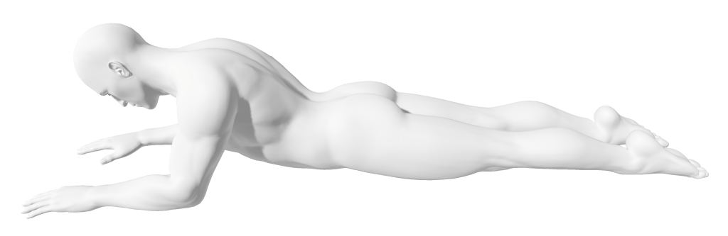 yoga sphinx pose, nude human man figure