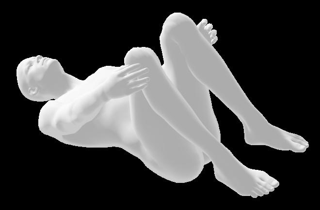 yoga pose, knees up (apanasana) nude human man figure