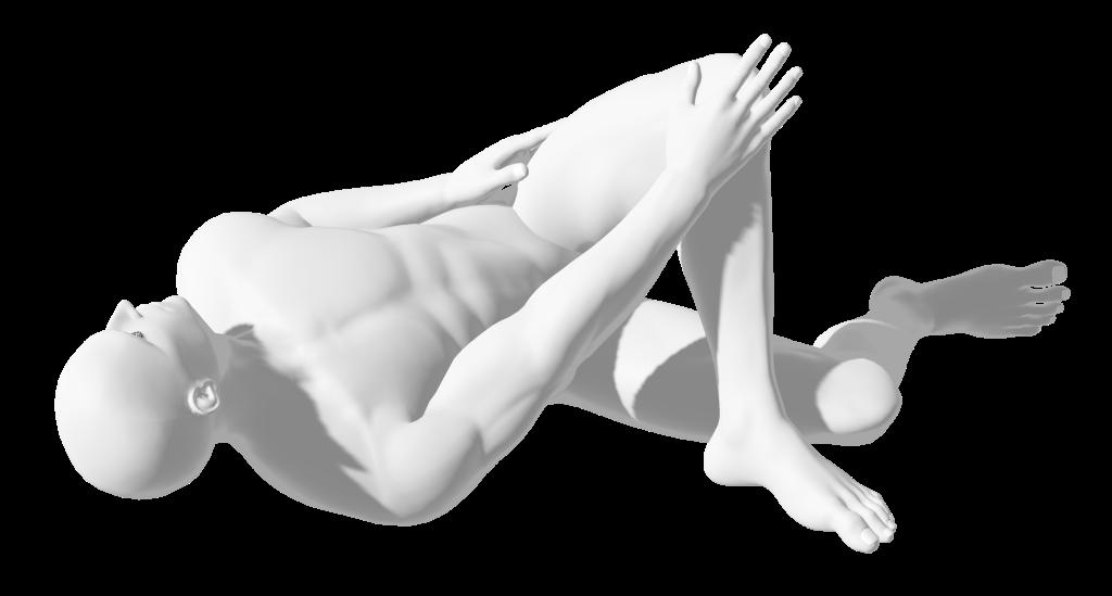 yoga pose, reclined rotated pigeon (kapotasana) nude human man figure