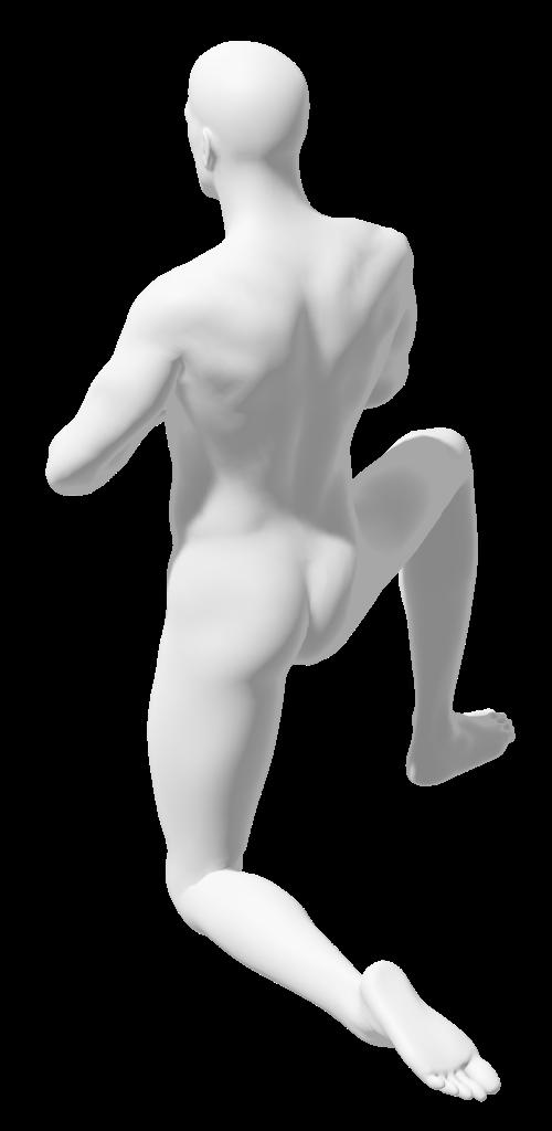 yoga pose, tree pose kneeling, human man figure nude from behind