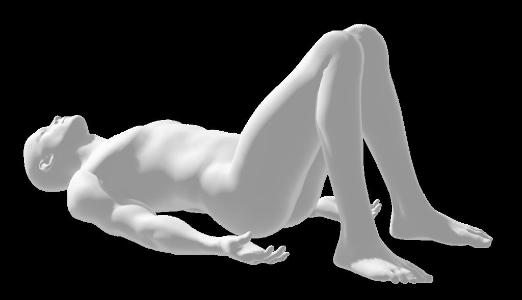 pyramid rest, yoga pose, nude human man figure, knees up & together, feet flat on mat