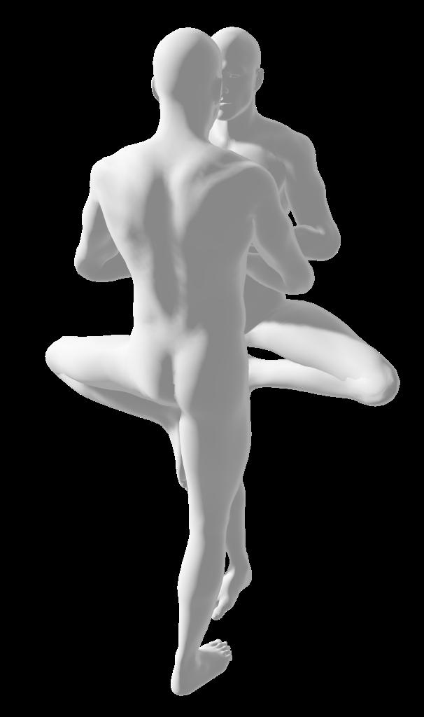 two nude human men figures doing tree pose (vriksasana)